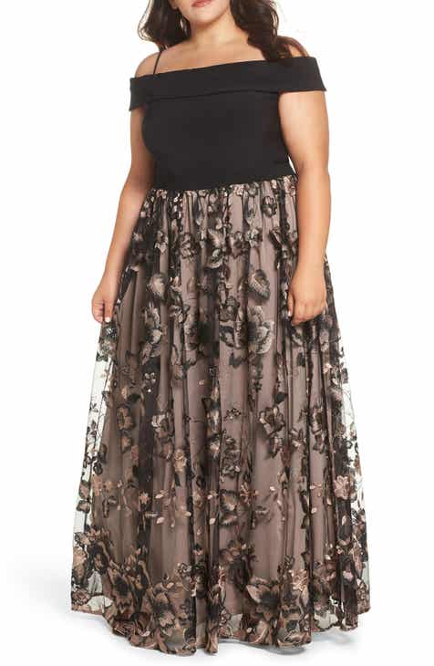 ba9b7f560d1 Off the Shoulder Embroidered Gown (Plus Size)