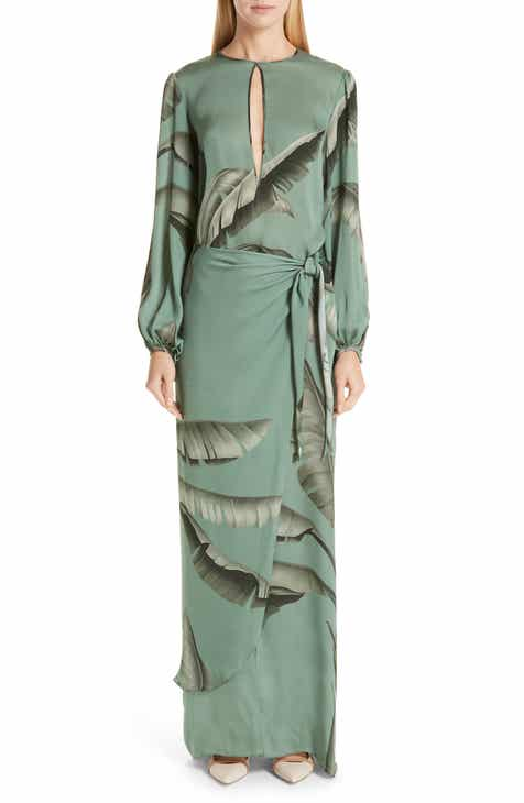 Johanna Ortiz Palm Print Silk Maxi Dress by JOHANNA ORTIZ