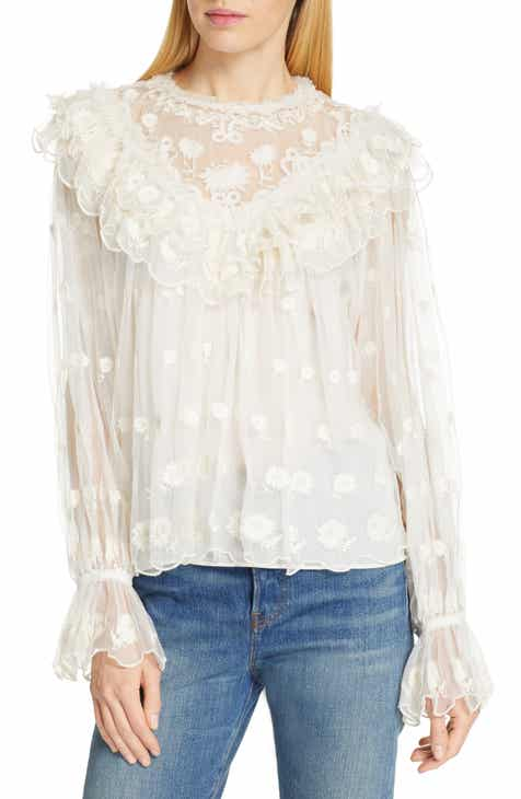 5351f3a41c98b8 Ulla Johnson Lucien Embroidered Tulle Blouse
