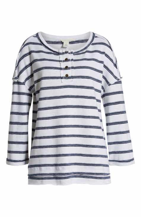 13b04fad6d Caslon® Stripe Henley Top (Regular & Petite)