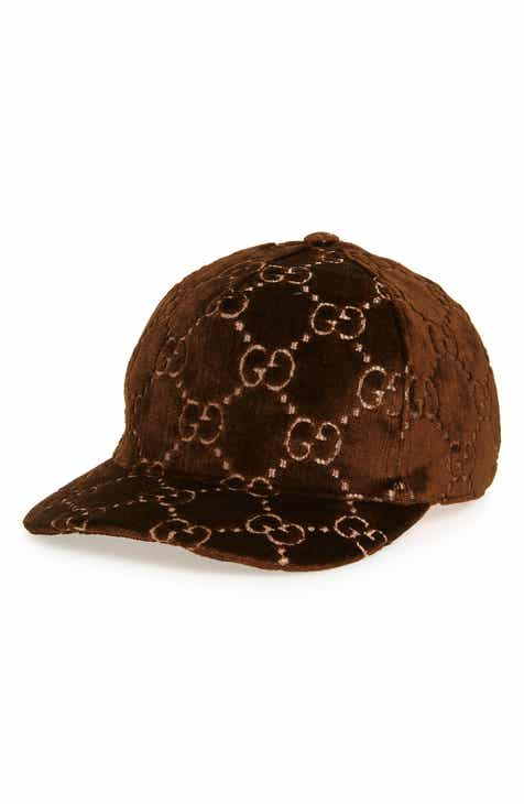 53e799e44c3c6 Gucci Logo Embroidered Velvet Baseball Cap