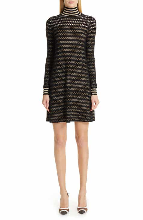 Fendi Striped Silk Stretch Lace Turtleneck Dress by FENDI
