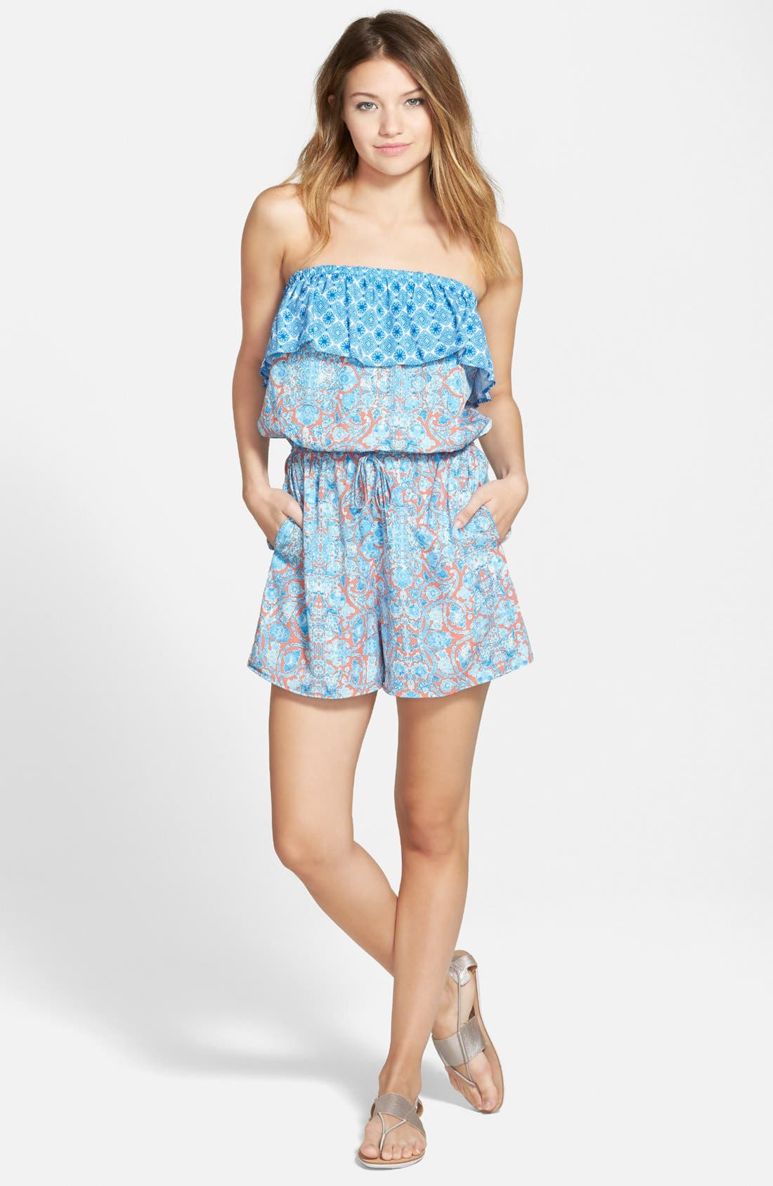 Main Image - Zoe and Rose Print Strapless Romper