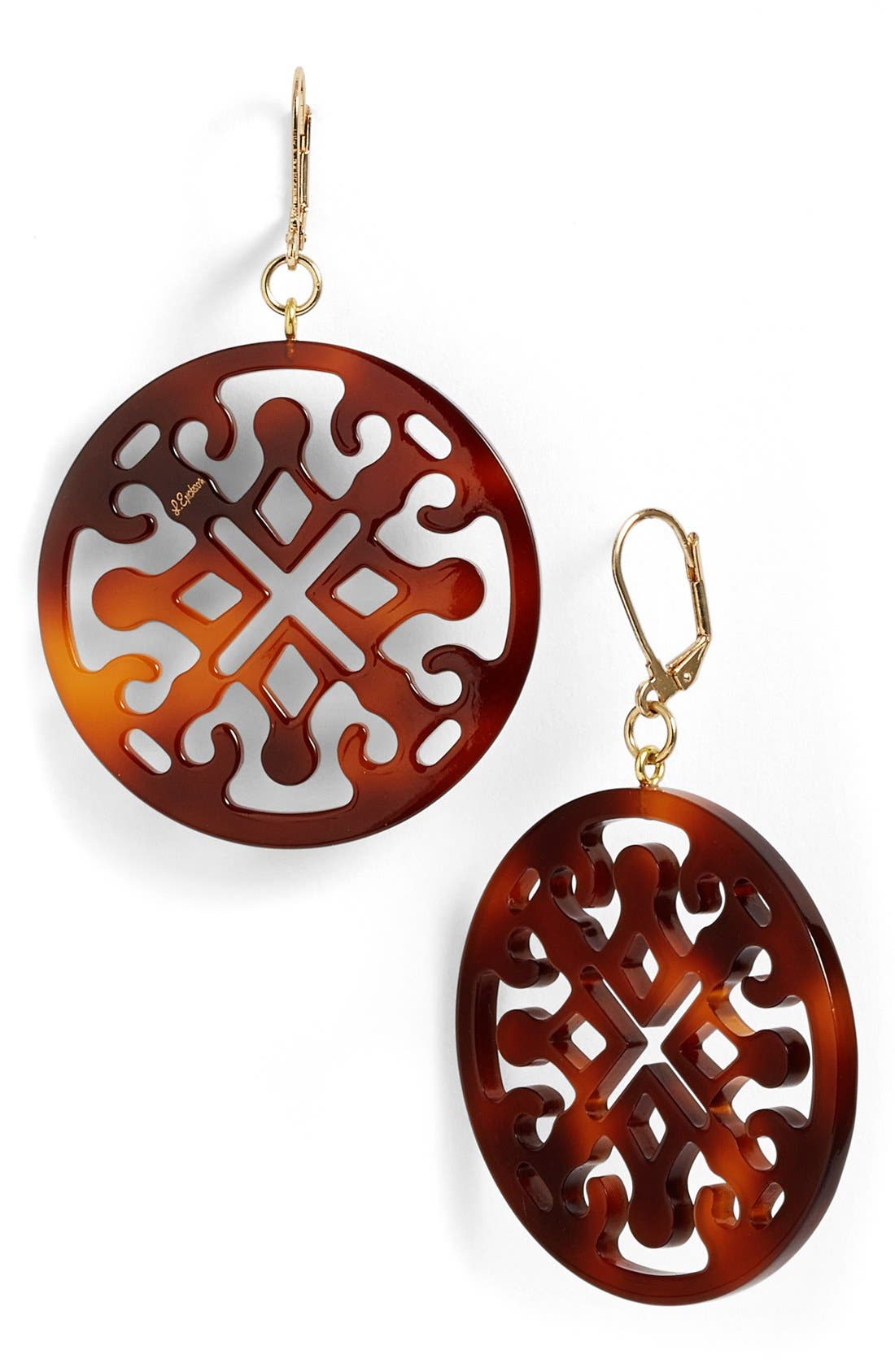 Medallion Filigree Drop Earrings,                             Main thumbnail 1, color,                             Tortoise