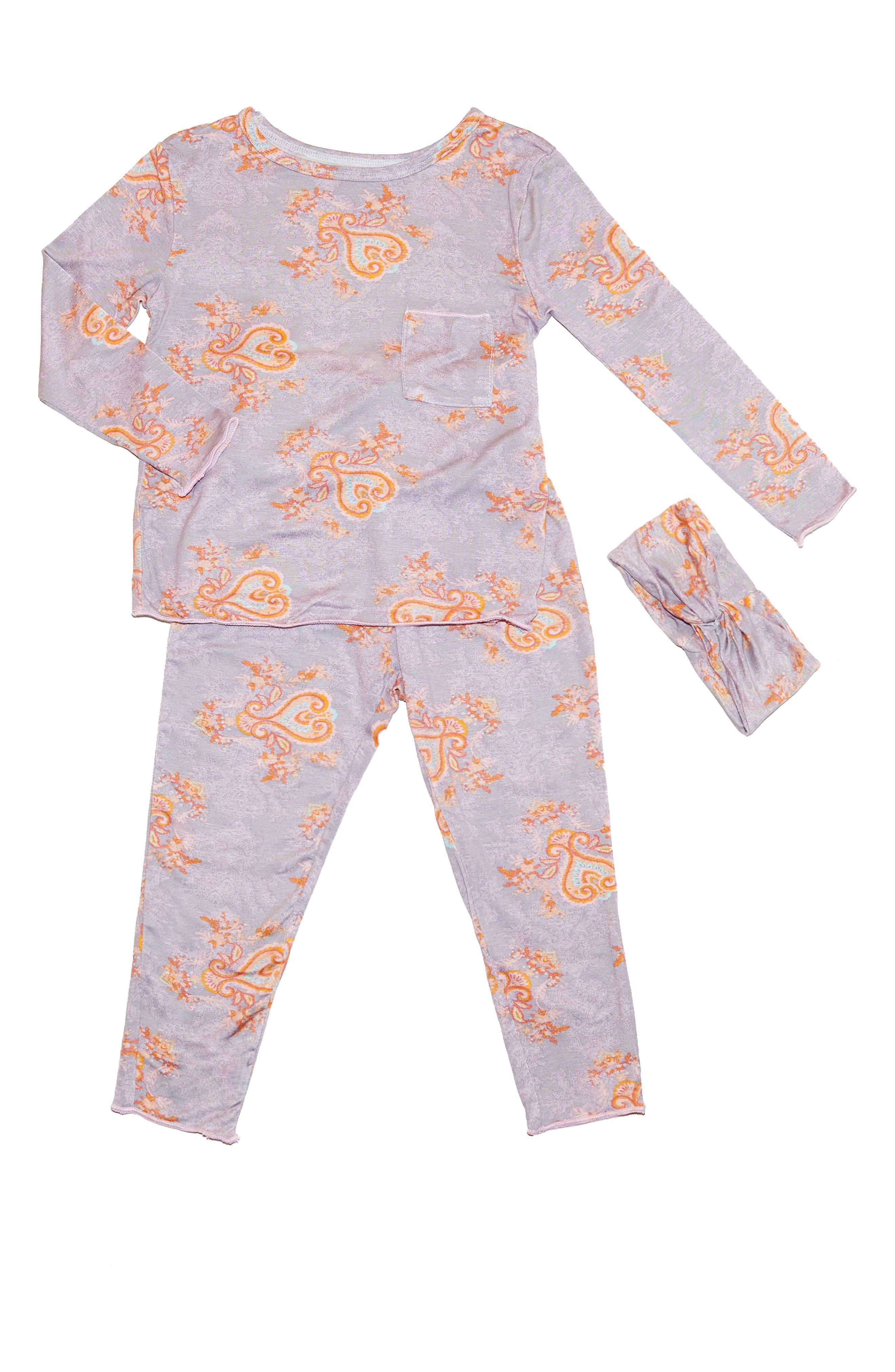 Baby Grey Charlie Fitted Two-Piece Pajamas \u0026 Head Wrap Set (Baby) Girl Sleepwear | Nordstrom
