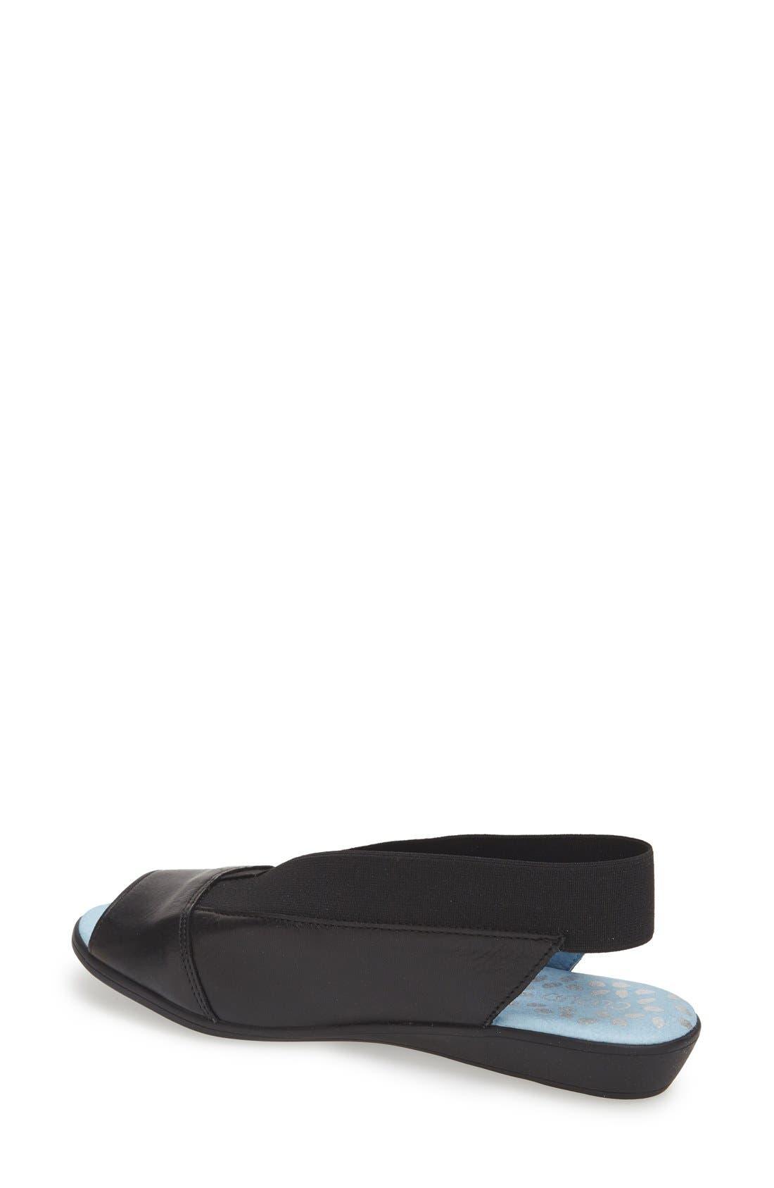'Caliber' Peep Toe Leather Flat,                             Alternate thumbnail 2, color,                             Black
