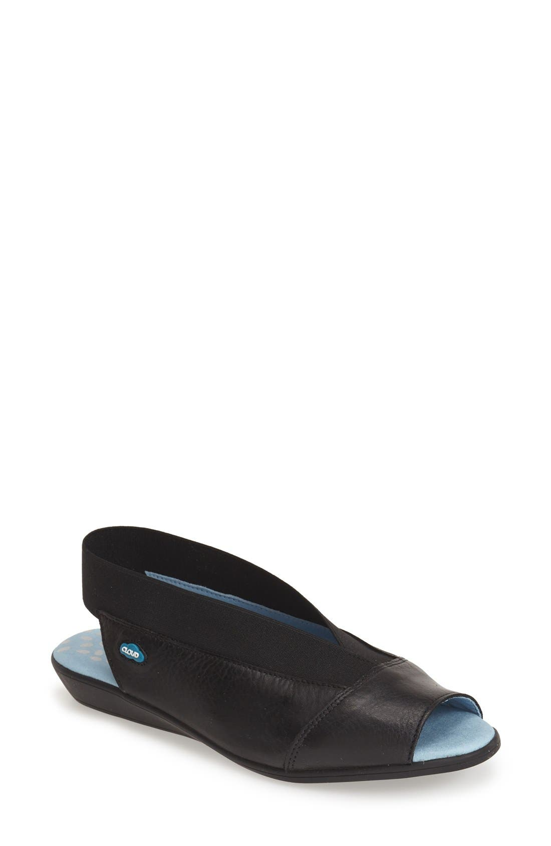 'Caliber' Peep Toe Leather Flat,                             Main thumbnail 1, color,                             Black