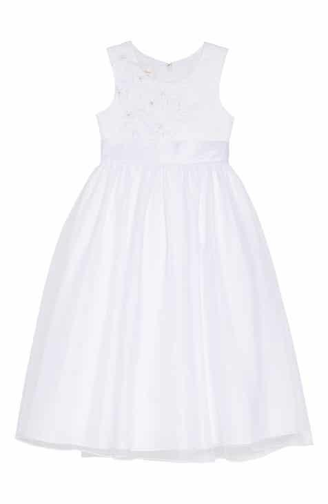 0cfae291285 Lauren Marie Embroidered Floral First Communion Dress (Little Girls   Big  Girls)