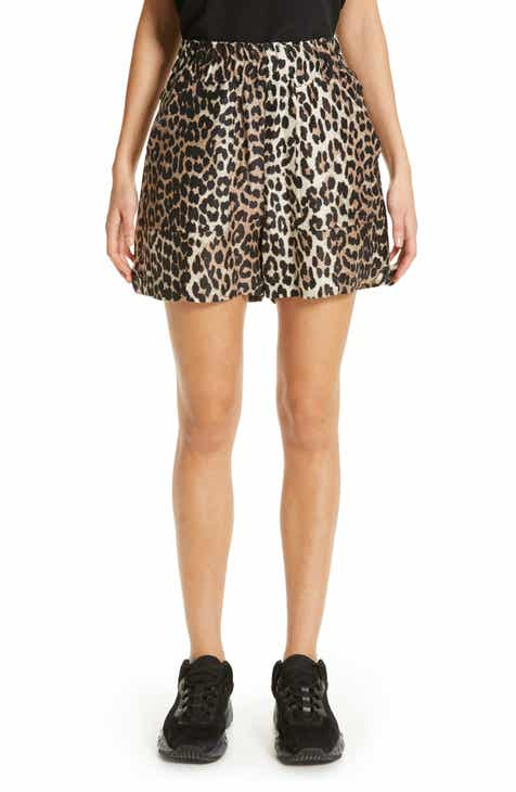 Ganni Animal Print Linen & Silk Shorts by GANNI