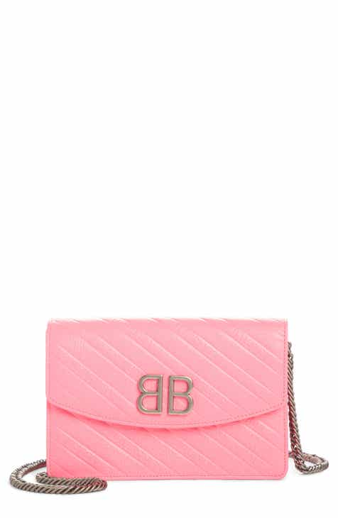 c24a7214a1b9 Balenciaga BB Embossed Leather Wallet on a Chain
