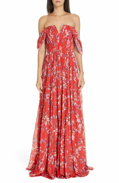 f714ee9cd73 AMUR Kyla Off the Shoulder Chiffon Maxi Dress