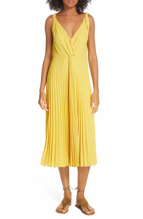 0377cc646698 Vince Wide Strap Belted Linen Blend Dress.  345.00. Product Image