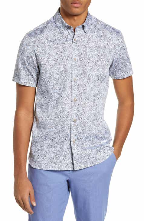 c21662a2c Ted Baker London Buffalo Slim Fit Botanical Print Sport Shirt