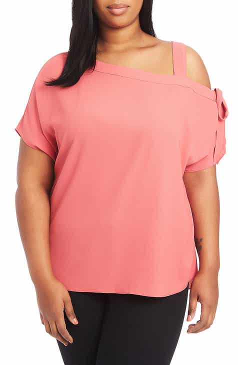85ef8bc0fcf STATE One-Shoulder Tie Sleeve Blouse (Plus Size)