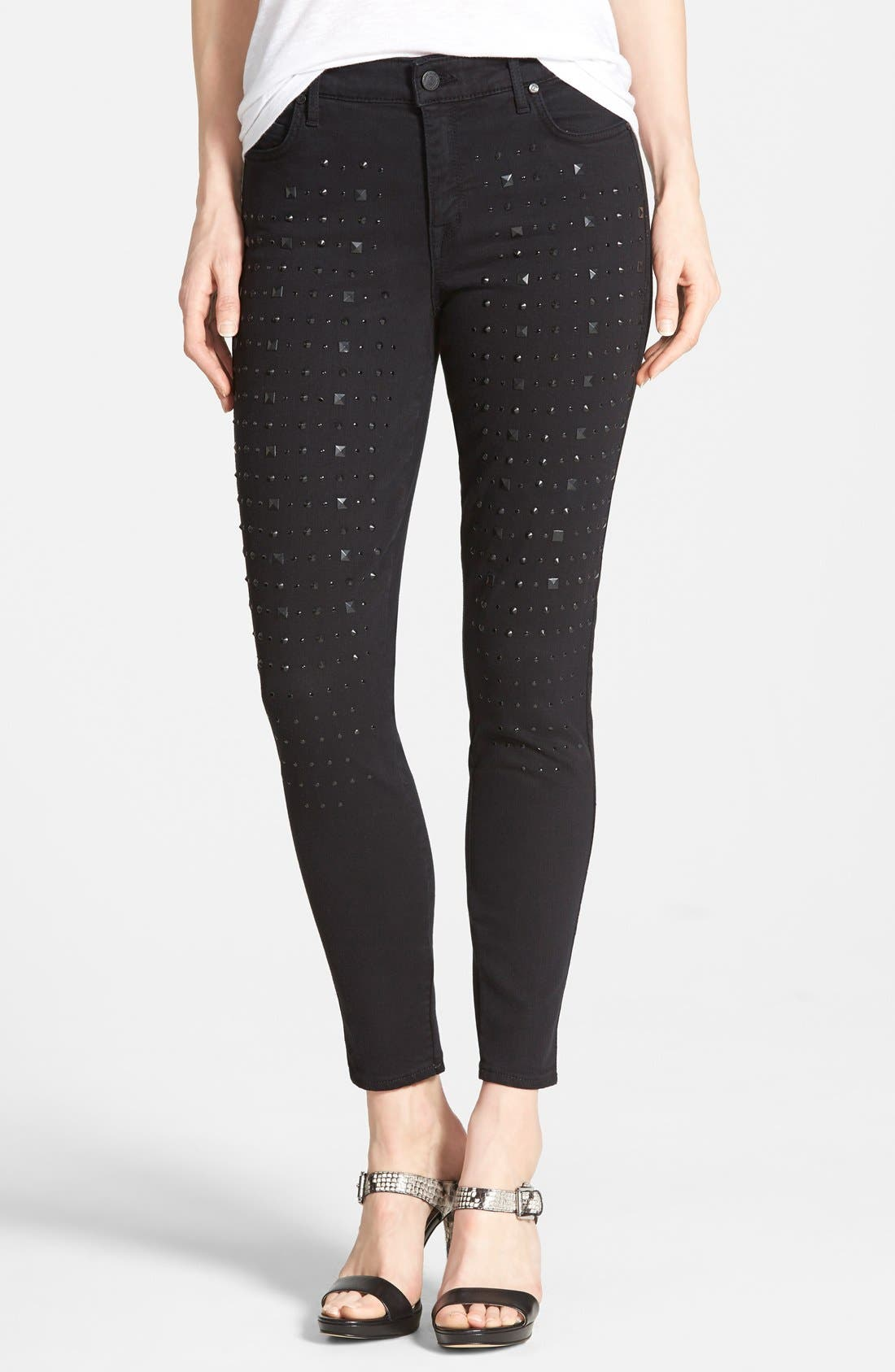 Main Image - CJ by Cookie Johnson 'Wisdom' Studded Ankle Skinny Jeans (Black)