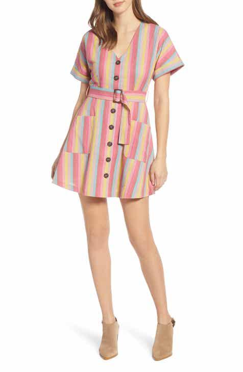 2bf3f02c6ce MOON RIVER Stripe Belted Cotton   Linen Minidress