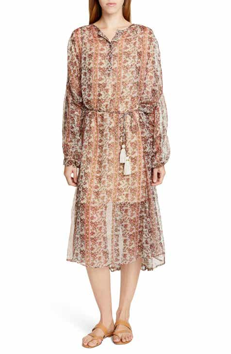 Mes Demoiselles Florine Metallic Detail Long Sleeve Dress