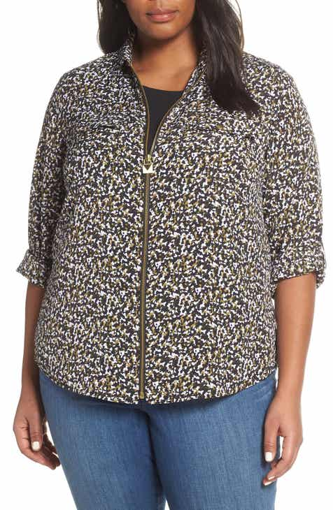 796351075ea23 MICHAEL Michael Kors Pebble Camo Mini Lock Zip Front Shirt (Plus Size)