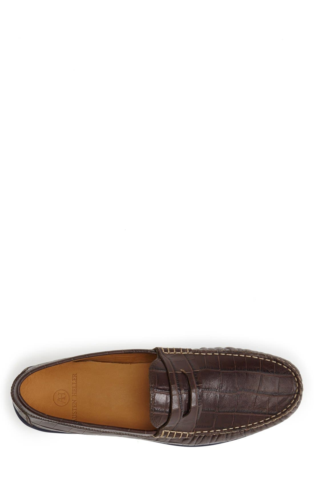 'Waverly' Leather Penny Loafer,                             Alternate thumbnail 3, color,                             Brown