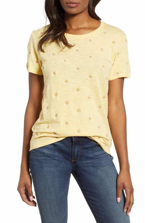 fd5f77278b6278 Lucky Brand Daisy All Over Embroidered Cotton Tee