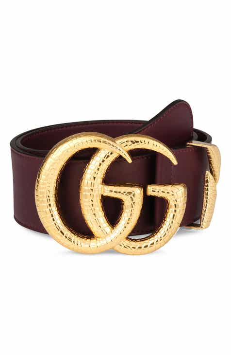 a7e8c0aed74d1 Gucci GG Marmont Lizard Buckle Leather Belt