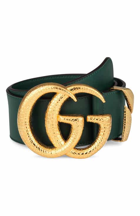 9b4436fea78 Gucci GG Marmont Lizard Buckle Leather Belt
