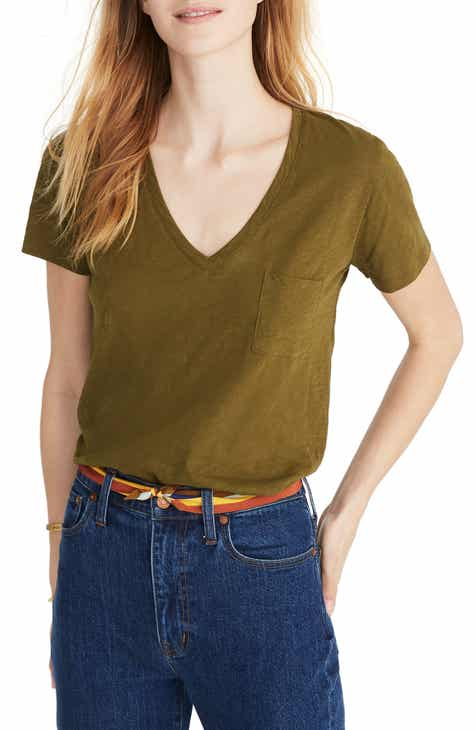 27d9c1a5754 Madewell Whisper Cotton V-Neck Pocket Tee (Regular   Plus Size)