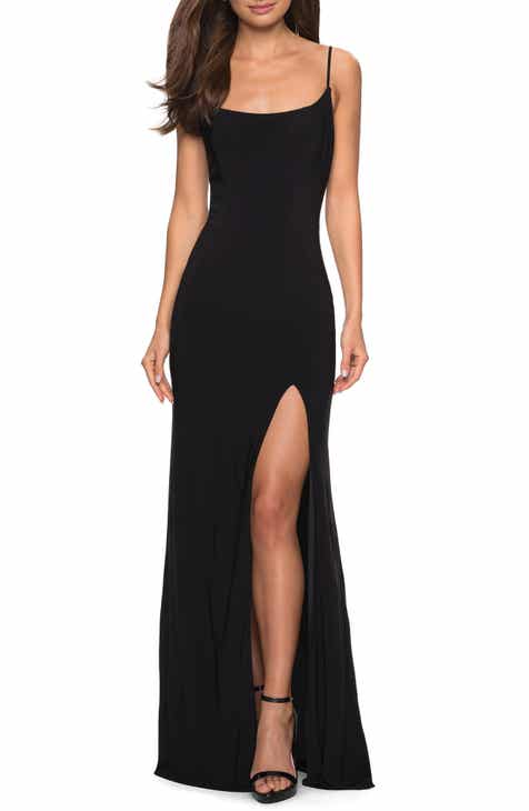 e7a90314fe42b La Femme Strappy Back Jersey Evening Dress