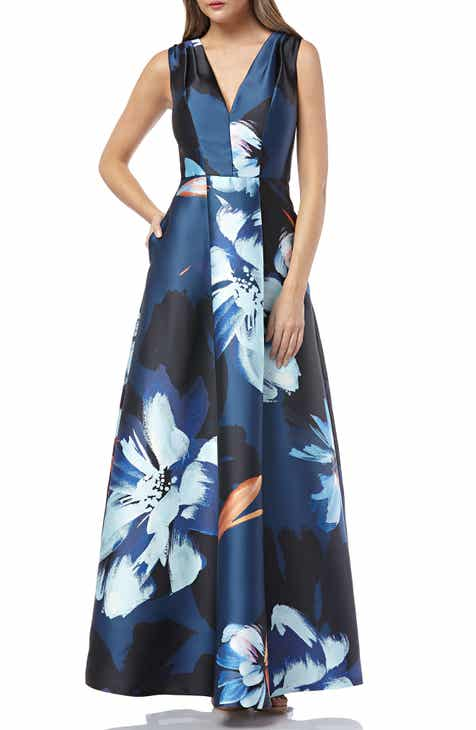 63e10da65fc3 Kay Unger Sleeveless Print Mikado Dress