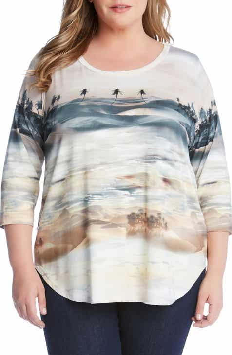 b8d742aa963e5 Karen Kane Palm Tree Print Shirttail Shirt (Plus Size)