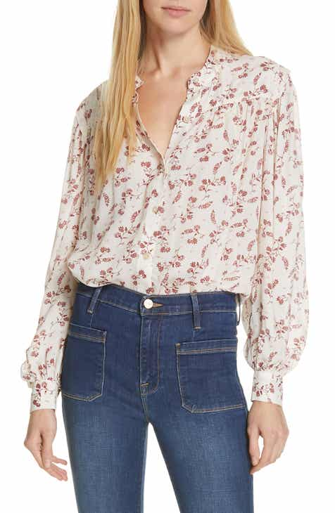 f7bd093b158e97 FRAME Voluminous Floral Print Top
