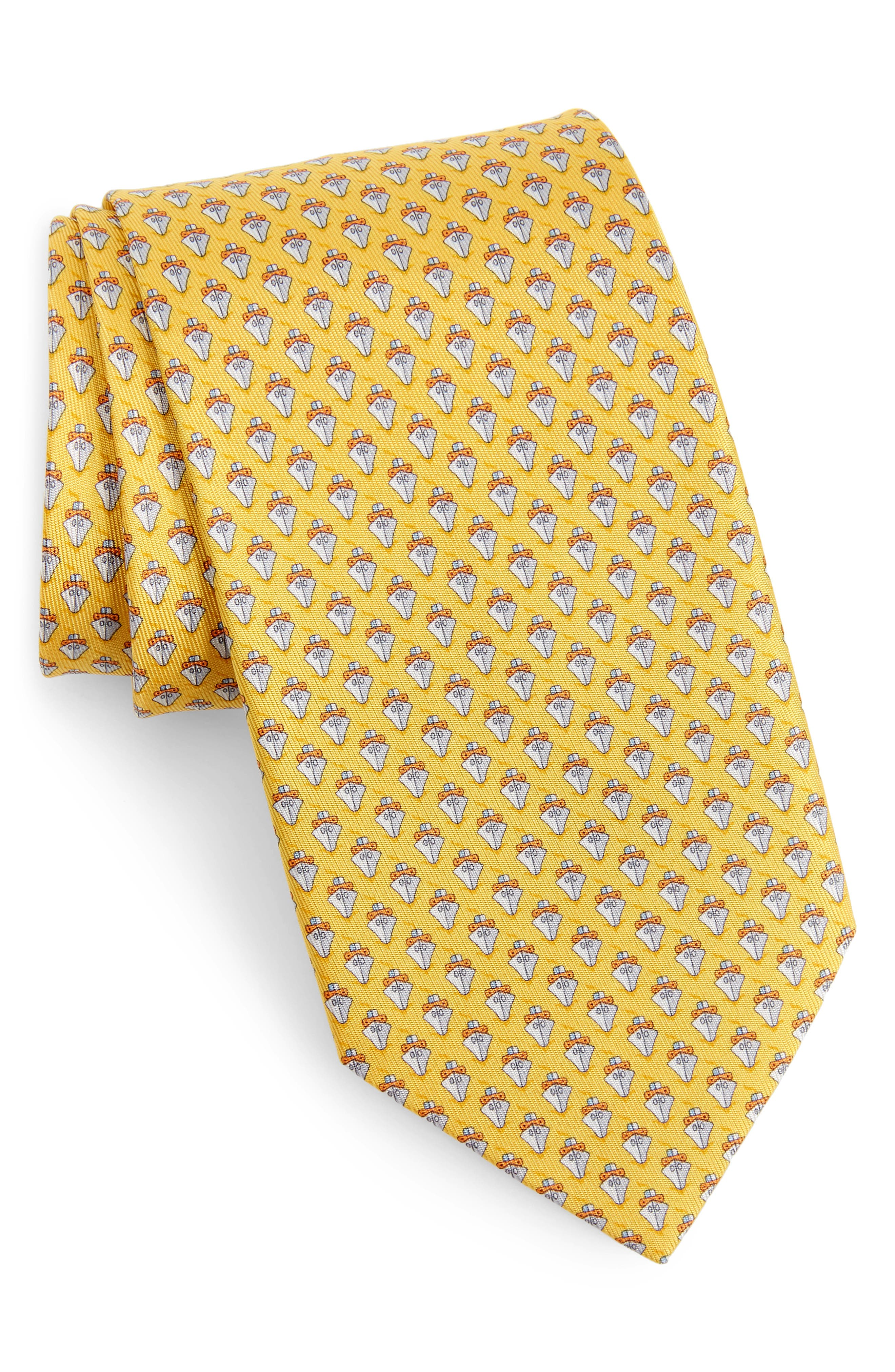 Ties, Bow Ties & Cravats Next 100% Silk Mens Yellow Check Wide Fit Tie