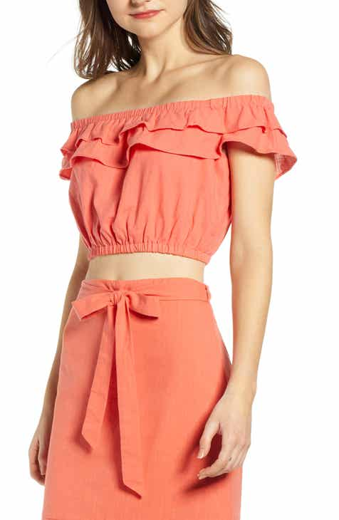 d3c20a6e9d6bf 4SI3NNA Ruffle Off the Shoulder Top.  49.00. Product Image