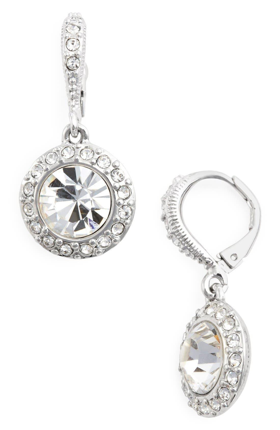 Crystal Drop Earrings,                             Main thumbnail 1, color,                             Silver/ Crystal