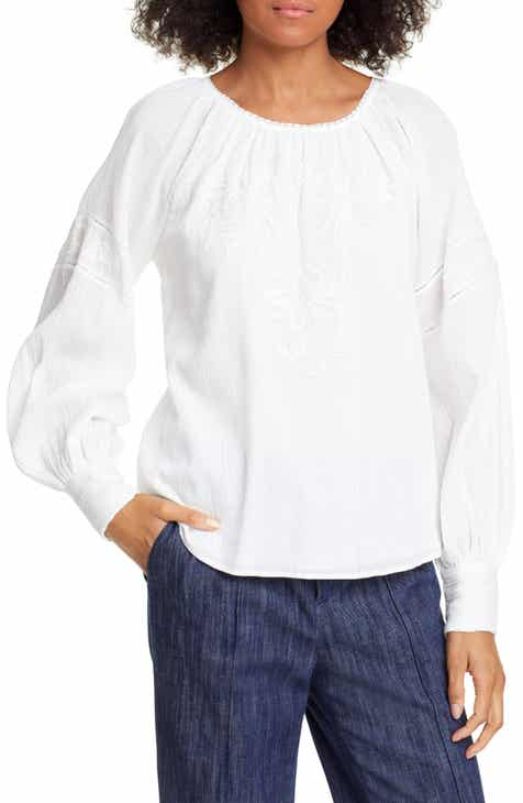 adfd3173817db9 Joie Mitney Embroidered Detail Cotton Blouse