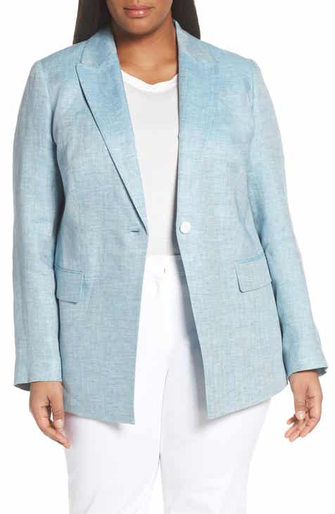 Lafayette 148 New York Heather Linen Jacket (Plus Size) by LAFAYETTE 148