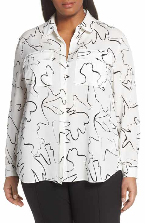 b40fd5a8b72 Lafayette 148 New York Zora Scribble Print Blouse (Plus Size)