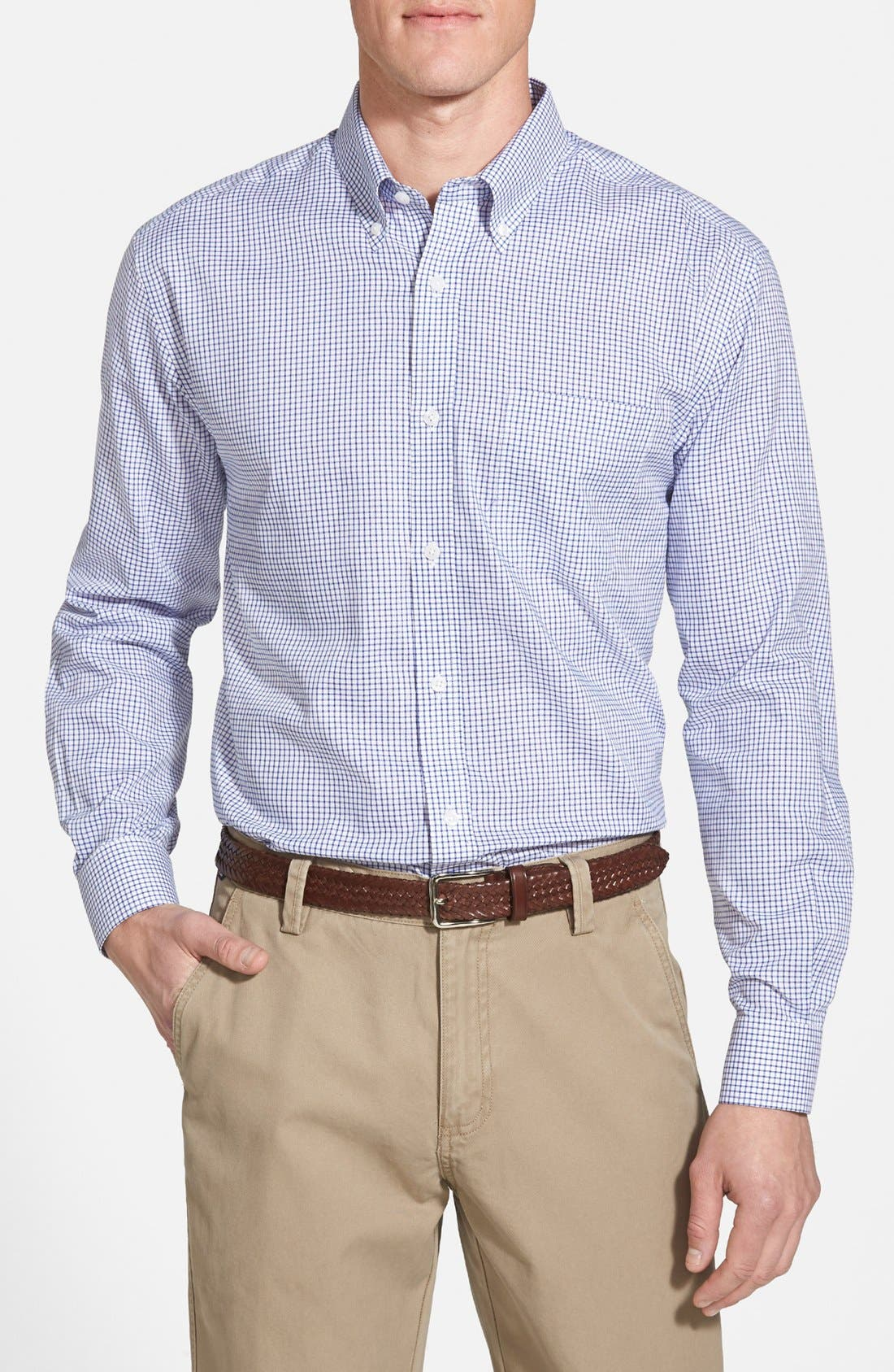 'Epic Easy Care' Classic Fit Wrinkle Free Tattersall Plaid Sport Shirt,                         Main,                         color, French Blue