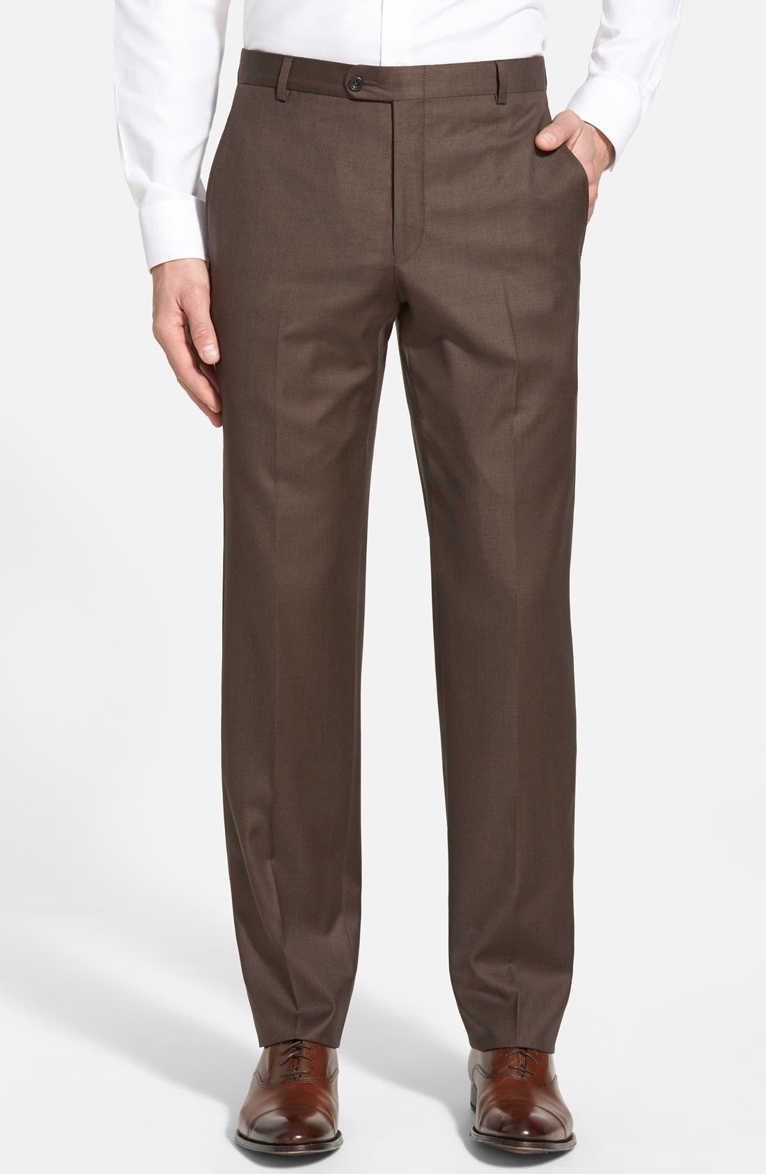 Hickey Freeman 'B Series' Flat Front Wool Trousers