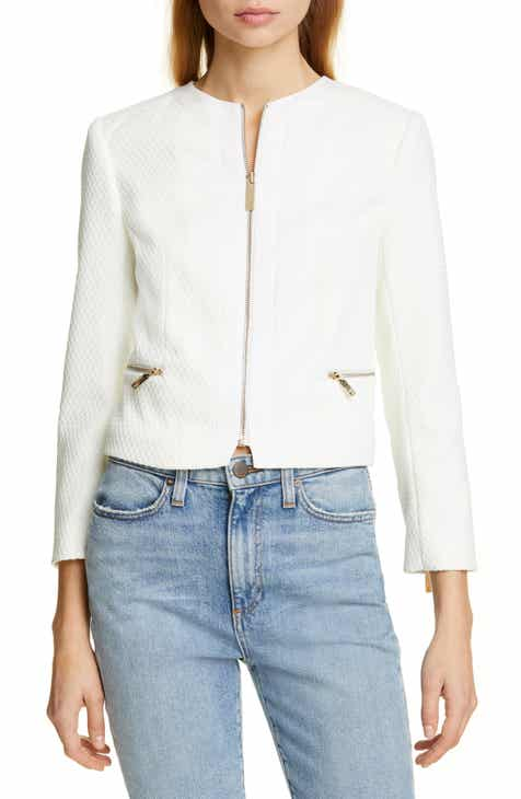 Ted Baker London Taahra Textured Zip Front Crop Jacket by TED BAKER LONDON