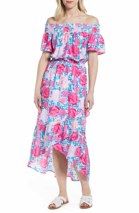 aece83f585 vineyard vines Run for the Roses Off the Shoulder Dress