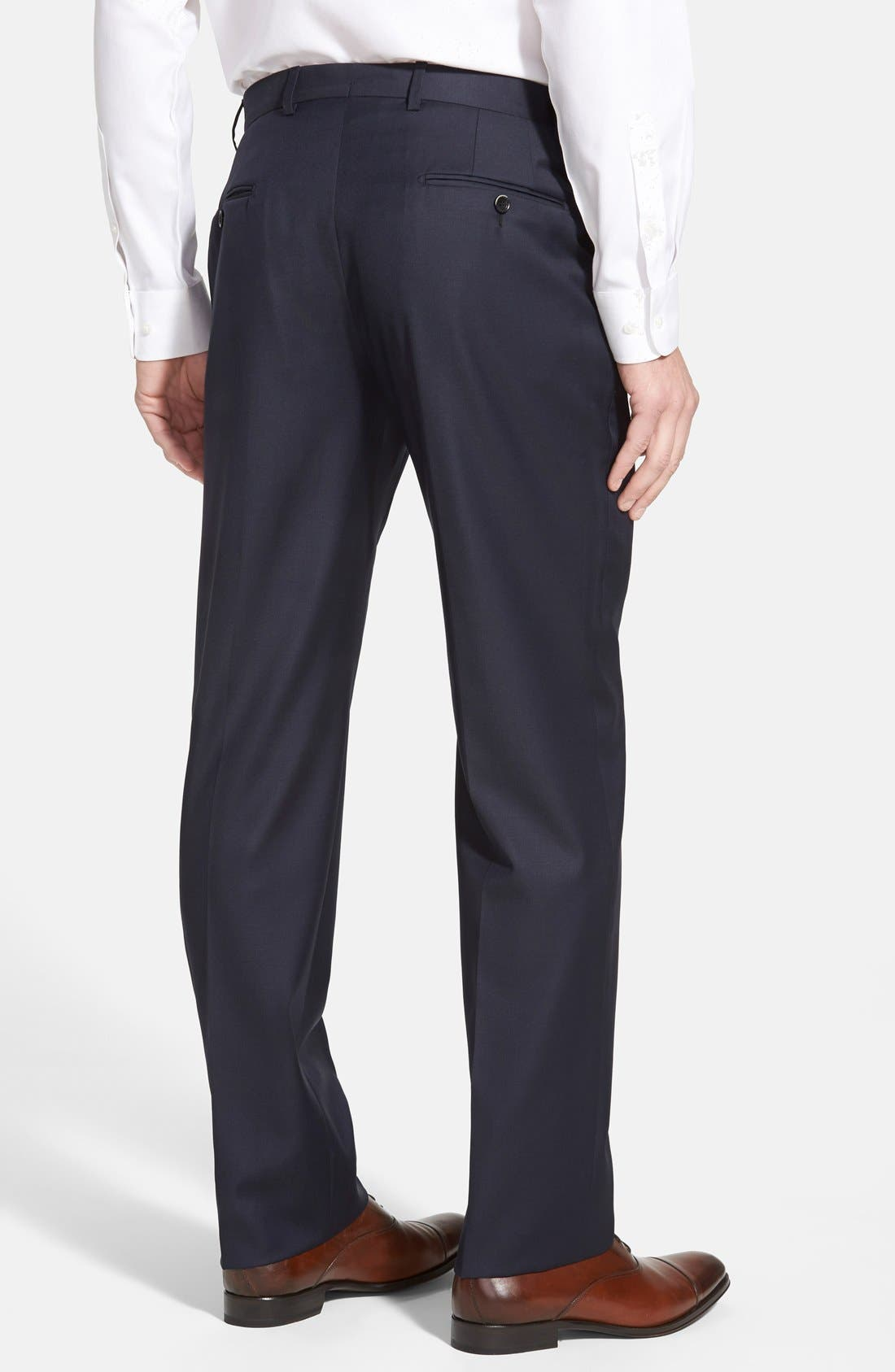 Classic B Fit Flat Front Wool Trousers,                             Alternate thumbnail 2, color,                             Navy
