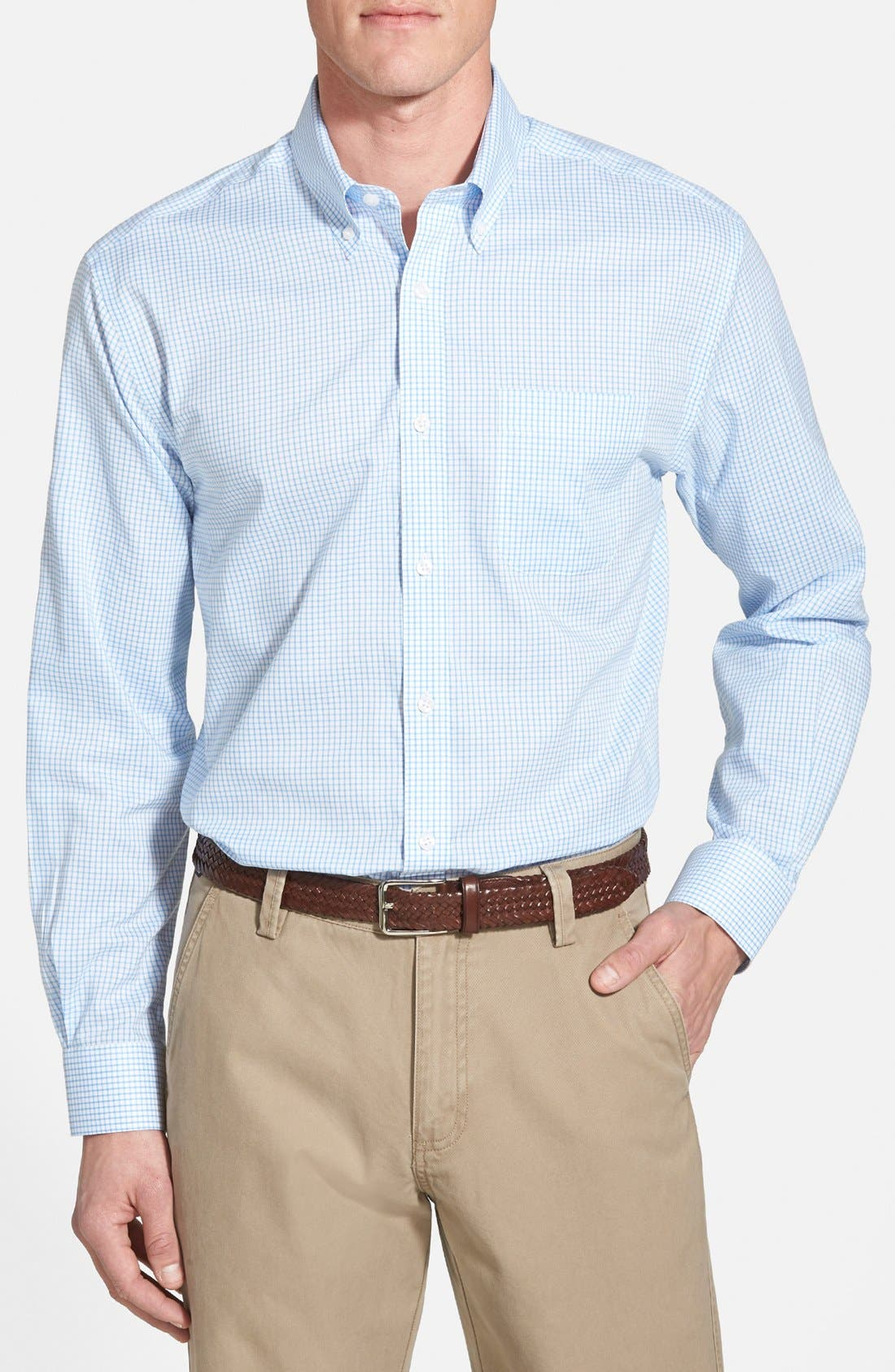 Cutter & Buck 'Epic Easy Care' Classic Fit Wrinkle Free Tattersall Plaid Sport Shirt (Big & Tall)
