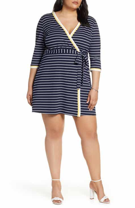 123fb5e8d921 1901 Stripe Faux Wrap Dress (Plus Size)