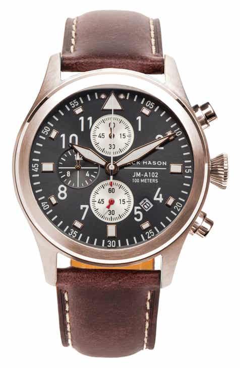 ff2b00384dd99 Jack Mason Aviation Chronograph Leather Strap Watch