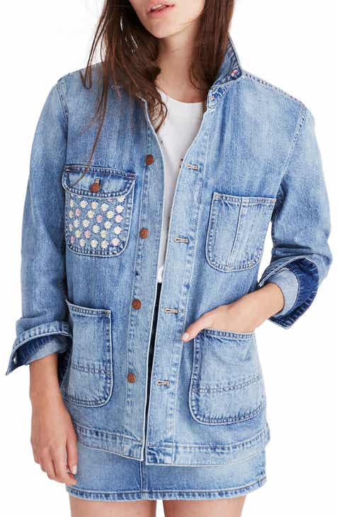 Vince Camuto Indigo Released Hem Denim Jacket (Mid Vintage) by VINCE CAMUTO