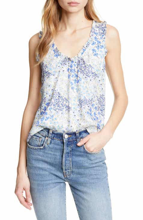 68f9533d389aa Rebecca Taylor Floral Shirred Silk Tank Top