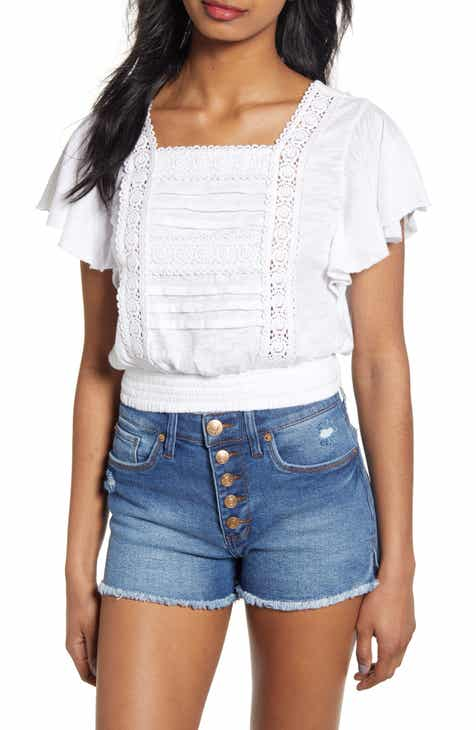 b942cfaea76 Lace Trim Ruffle Sleeve Crop Top (Regular & Plus Size)