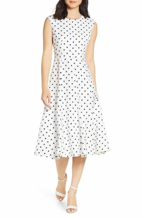 Eliza J Polka Dot Linen Blend Midi Dress by ELIZA J