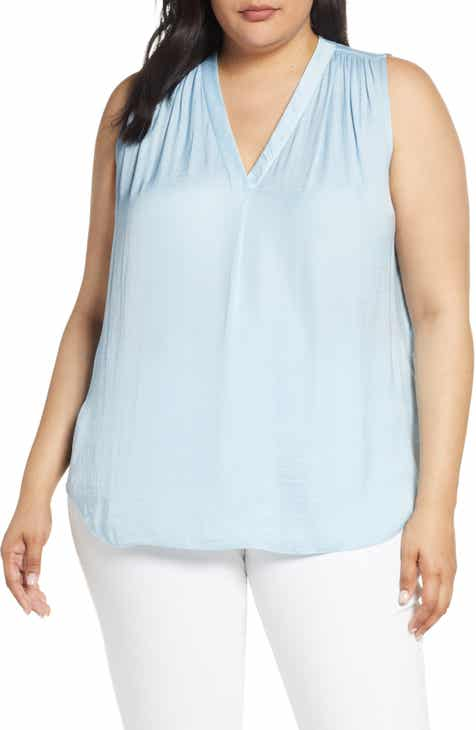 d3a58118c6e Vince Camuto V-Neck Rumple Blouse (Plus Size)